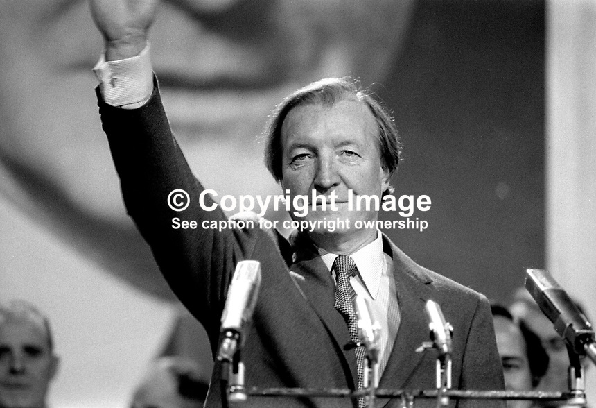 Charles Haughey, TD, Prime Minister, Taoiseach, Rep of Ireland, addressing the Fianna Fail Ard Fheis, February 1981. 198102000032CH2.<br />