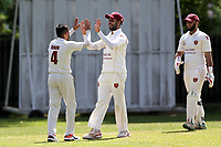 Barking celebrate their fifth wicket during Barking CC (fielding) vs Redbridge CC, Essex County League Cricket at Mayesbrook Park on 25th May 2019