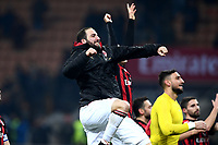 Gonzalo Higuain celebrates at the end of the Serie A 2018/2019 football match between AC Milan and SPAL at stadio Giuseppe Meazza in San Siro, Milano, December 29, 2018 <br /> Foto Image Sport / Insidefoto