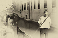 Photo art of a gondolier in Venice awaiting a fare.
