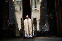 NEW YORK, NY - APRIL 16: the doors of St. Patrick's Cathedral are closed after the arrival of Cardinal Timothy Dolan for mass during the Annual Easter parade on April 16, 2017 in New York City.  The Easter Parade and Easter Bonnet Festival is characterized by revelers dressed in their holiday finery, which typically includes handmade hats, while they gather around St. Patrick's Cathedral to show their creations. Photo by VIEWpress/Eduardo MunozAlvarez