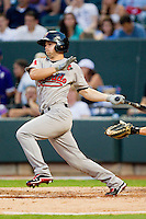 California League All-Star Chris Owings #2 of the Visalia Rawhide follows through on his swing against the Carolina League All-Stars during the 2012 California-Carolina League All-Star Game at BB&T Ballpark on June 19, 2012 in Winston-Salem, North Carolina.  The Carolina League defeated the California League 9-1.  (Brian Westerholt/Four Seam Images)
