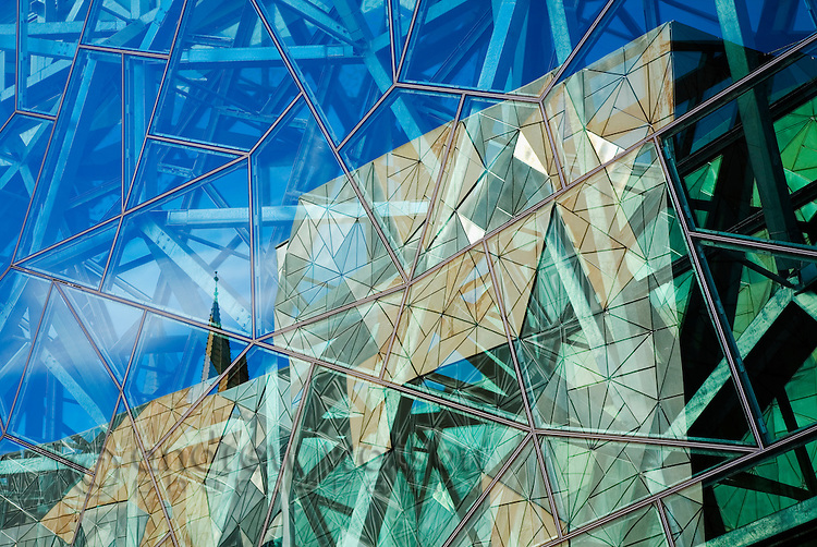 Modern architecture of Federation Square in Melbourne, Victoria, AUSTRALIA.