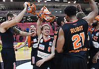 Basketball  1. Bundesliga  2016/2017  Hauptrunde  12. Spieltag  04.12.2016 Walter Tigers Tuebingen - ratiopharm Ulm JUBEL Ulm; Tim Ohlbrecht, Braydon Hobbs, Per Guenther und Augustine Rubit (v.li.)