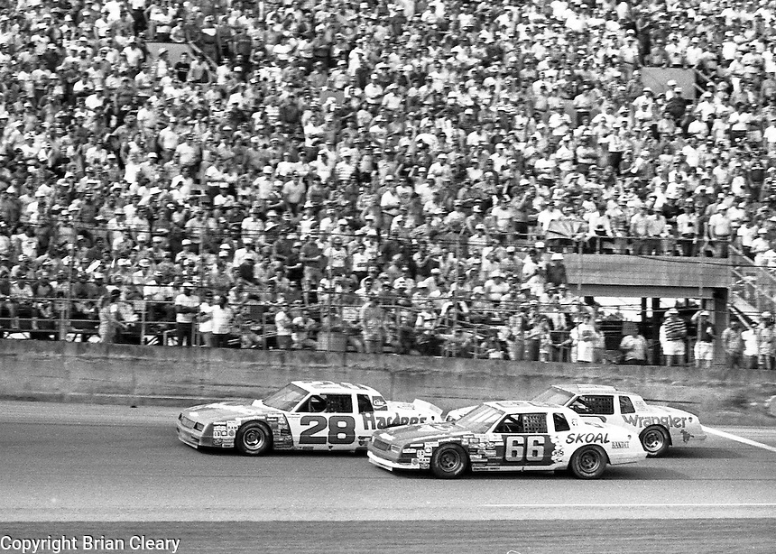 Cale Yarborough 28 Phil Parsons 66 Dale Earnhardt 3 action Daytona 500 at Daytona International Speedway in Daytona Beach, FL on February  1984. (Photo by Brian Cleary/www.bcpix.com)