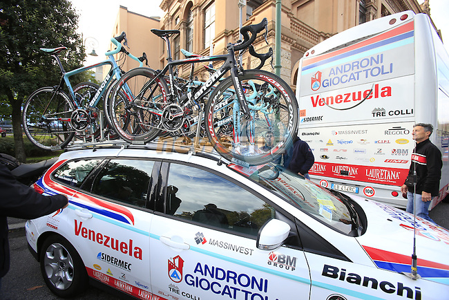 Androni Giocattoli-Venezuela team car before the start of the 107th edition 2013 Tour of Lombardy 242 Km starting in Bergamo and finishing in Lecco. 6th October 2013.<br /> (Photo: Eoin Clarke/www.newsfile.ie)