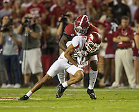 Hawgs Illustrated/BEN GOFF <br /> Hootie Jones, Alabama strong safety, tackles Deon Strewart, Arkansas wide receiver, after a catch in the first quarter Saturday, Oct. 14, 2017, at Bryant-Denny Stadium in Tuscaloosa, Ala.