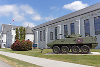 The 39 brigade LAV III monument honouring Canadian Armed Forces who served and died in Afgahanistan, Seaforth Armoury, Vancouver, BC, Canada