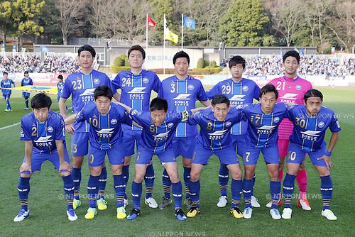 FC Machida Zelvia team group line-up, MARCH 20, 2016 - Football /Soccer : 2016 J2 League match between FC Machida Zelvia 2-1 Zweigen Kanazawa at Machida Stadium in Tokyo, Japan. (Photo by Yusuke Nakanishi/AFLO SPORT)