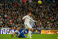 Real Madrid´s Cristiano Ronaldo and Deportivo de la Coruna's Albert Lopo during 2014-15 La Liga match between Real Madrid and Deportivo de la Coruna at Santiago Bernabeu stadium in Madrid, Spain. February 14, 2015. (ALTERPHOTOS/Luis Fernandez) /NORTEphoto.com