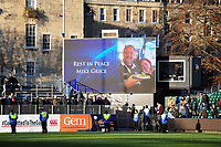 A general view of the big screen commemorating Mike Grice. Aviva Premiership match, between Bath Rugby and Harlequins on November 25, 2017 at the Recreation Ground in Bath, England. Photo by: Patrick Khachfe / Onside Images