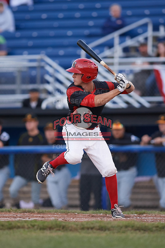 Batavia Muckdogs left fielder Mathew Brooks (46) at bat during a game against the West Virginia Black Bears on June 26, 2017 at Dwyer Stadium in Batavia, New York.  Batavia defeated West Virginia 1-0 in ten innings.  (Mike Janes/Four Seam Images)