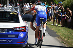 Mechanical problem for Ramon Sinkeldam (NED) Groupama-FDJ during Stage 5 of the 2018 Tour de France running 204.5km from Lorient to Quimper, France. 11th July 2018. <br /> Picture: ASO/Pauline Ballet | Cyclefile<br /> All photos usage must carry mandatory copyright credit (&copy; Cyclefile | ASO/Pauline Ballet)