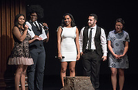 Apollo Night hosts Nina Reynoso '16 and Chance Ward '18 introduce Lencia Kebede '16, Noah Winnick '16 and Audrey Yim '17. Occidental College students perform and compete during Apollo Night, one of Oxy's biggest talent showcases, on Friday, Feb. 26, 2016 in Thorne Hall. Sponsored by ASOC, hosted by the Black Student Alliance as part of Black History Month.<br /> (Photo by Marc Campos, Occidental College Photographer)