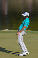 Dustin Johnson (USA) reacts to barely missing his birdie putt on 11 during day 1 of the WGC Dell Match Play, at the Austin Country Club, Austin, Texas, USA. 3/27/2019.<br /> Picture: Golffile | Ken Murray<br /> <br /> <br /> All photo usage must carry mandatory copyright credit (&copy; Golffile | Ken Murray)