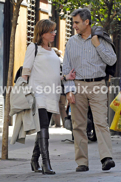 **ALL ROUND EXCLUSIVE PICTURES FROM SOLARPIX.COM**.**WORLDWIDE SYNDICATION RIGHTS EXCLUDING SPAIN - NO PUBLICATION IN SPAIN**.Spains new Defence minister Carme Chacon who married ex secretary of state Miguel Barroso in a civil ceremony is now expecting a baby..Carme is the first woman in history to hold this position..The couple were seen stroliing together in  Madrid ..JOB REF: 6274         ROL       DATE: 27.04.08.**MUST CREDIT SOLARPIX.COM OR DOUBLE FEE WILL BE CHARGED* *UNDER NO CIRCUMSTANCES IS THIS IMAGE TO BE REPRODUCED FOR ANY ONLINE EDITION WITHOUT PRIOR PERMISSION*