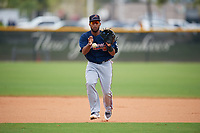Atlanta Braves Ariel Montesino (80) during practice before a Minor League Spring Training game against the New York Yankees on March 12, 2019 at New York Yankees Minor League Complex in Tampa, Florida.  (Mike Janes/Four Seam Images)
