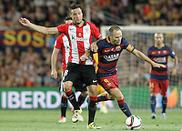 FC Barcelona's Andres Iniesta (r) and Athletic de Bilbao's Carlos Gurpegui during Supercup of Spain 2nd match.August 17,2015. (ALTERPHOTOS/Acero)