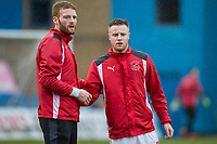 Cian Bolger of Fleetwood Town and Kevin O'Connor of Fleetwood Town warm up ahead of the Sky Bet League 1 match between Gillingham and Fleetwood Town at the MEMS Priestfield Stadium, Gillingham, England on 27 January 2018. Photo by David Horn.