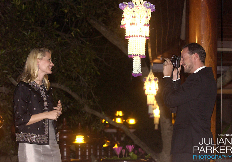 Crown Prince Haakon & Crown Princess Mette-Marit of Norway's visit to Thailand..Visit to Phra Nakhon Si Ayutthaya Province - watched the Loi Krathong Festival..