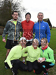 Colin Reilly, Frank McCarthy, Jackser Reilly, Barbara Byrne, Nuala Reilly and Michelle Hughes who ran with Stephen Geraghty on the last leg of  his challenge to run six Kilometers every day in 2016. Photo:Colin Bell/pressphotos.ie