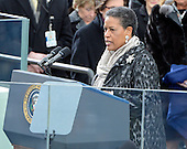Myrlie Evers-Williams delivers the Invocation prior to United States President Barack Obama taking the oath of office during the public swearing-in ceremony at the U.S. Capitol in Washington, D.C. on Monday, January 21, 2013..Credit: Ron Sachs / CNP.(RESTRICTION: NO New York or New Jersey Newspapers or newspapers within a 75 mile radius of New York City)