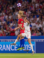 LYON,  - JULY 2: Sam Mewis #3 goes up for a header with Jill Scott #8 during a game between England and USWNT at Stade de Lyon on July 2, 2019 in Lyon, France.