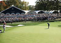 29 SEP 12  Brandt Snedeker ices the match with Garcia and Colsaerts on the 18th green during Saturdays foresome matches  at The 39th Ryder Cup at The Medinah Country Club in Medinah, Illinois.