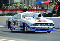 Apr. 27, 2012; Baytown, TX, USA: NHRA pro stock driver Larry Morgan during qualifying for the Spring Nationals at Royal Purple Raceway. Mandatory Credit: Mark J. Rebilas-