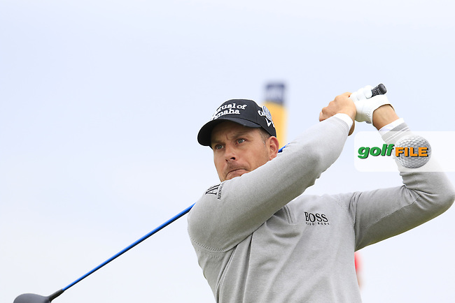 Henrik Stenson (SWE) tees off the 3rd tee during Saturday's Round 3 of the 145th Open Championship held at Royal Troon Golf Club, Troon, Ayreshire, Scotland. 16th July 2016.<br /> Picture: Eoin Clarke | Golffile<br /> <br /> <br /> All photos usage must carry mandatory copyright credit (&copy; Golffile | Eoin Clarke)