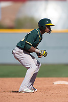 Oakland Athletics center fielder Dairon Blanco (30) during a Minor League Spring Training game against the Chicago Cubs at Sloan Park on March 19, 2018 in Mesa, Arizona. (Zachary Lucy/Four Seam Images)