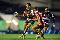 Matt Toomua of Leicester Tigers passes the ball. Heineken Champions Cup match, between Leicester Tigers and the Scarlets on October 19, 2018 at Welford Road in Leicester, England. Photo by: Patrick Khachfe / JMP
