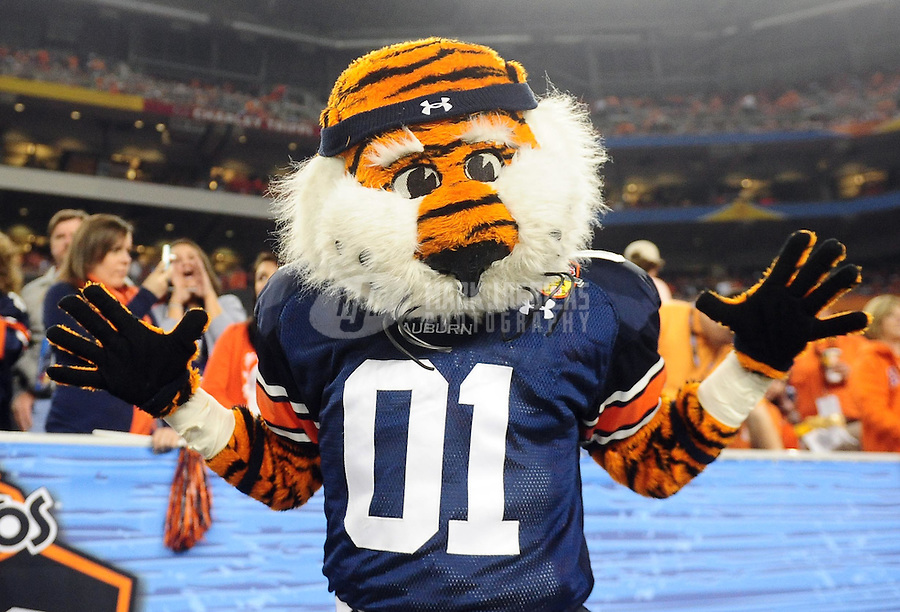 Jan 10, 2011; Glendale, AZ, USA; The mascot for the Auburn Tigers performs during the second half of the 2011 BCS National Championship game against the Oregon Ducks at University of Phoenix Stadium.  Mandatory Credit: Mark J. Rebilas-