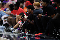 Washington, DC - August 25, 2019: Washington Wizards guard Bradley Beal court side with son Deuce Beal during second half action of game between the New York Liberty and the Washington Mystics at the Entertainment and Sports Arena in Washington, DC. The Mystics defeated New York 101-72. (Photo by Phil Peters/Media Images International)