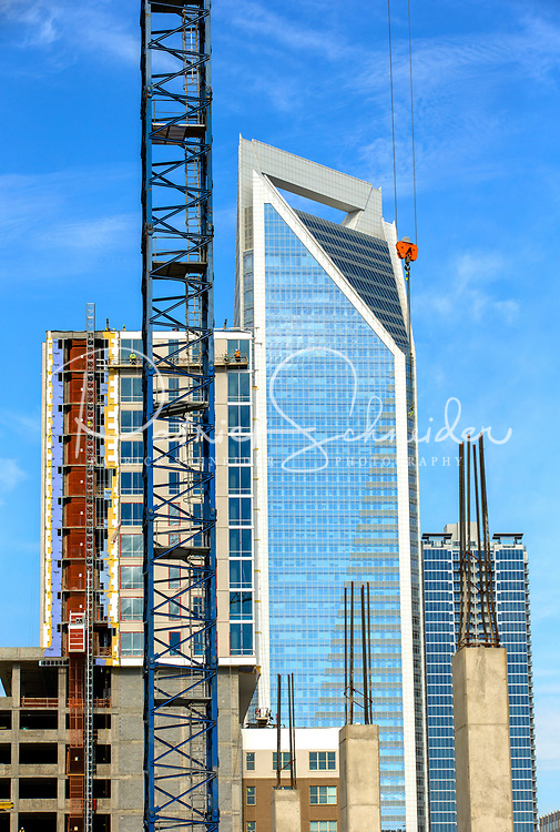 Charlotte North Carolina high-rise construction photography on the rapidly expanding Charlotte Skyline in downtown center city. Construction scenes in the Charlotte, North Carolina market. Expanding Charlotte skyline.<br /> <br /> Charlotte Photographer  - PatrickSchneiderPhoto.com