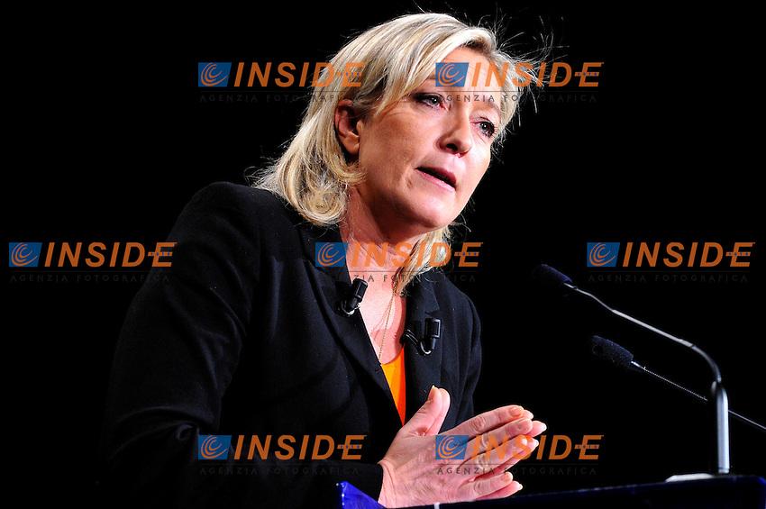 Marine Le Pen candidata per il Fronte Nazionale alle elezioni Presidenziali francesi del 2012.Parigi 19/11/2011 Sala dell'Equinozio .Foto Insidefoto / Gerard Roussel / Panoramic