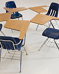 USA, Illinois, Metamora, Desks and chairs in classroom