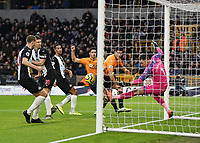 Newcastle United's Martin Dubravka saves Wolverhampton Wanderers' Raul Jimenez header <br /> Photographer Lee Parker/CameraSport<br /> <br /> The Premier League - Wolverhampton Wanderers v Newcastle United - Saturday 11th January 2020 - Molineux - Wolverhampton<br /> <br /> World Copyright © 2020 CameraSport. All rights reserved. 43 Linden Ave. Countesthorpe. Leicester. England. LE8 5PG - Tel: +44 (0) 116 277 4147 - admin@camerasport.com - www.camerasport.com