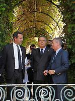 Repubblica delle idee Napoli<br /> nella foto  Luigi De Magistris Carlo De Benedetti ezio Mauro <br /> foto Ciro De Luca