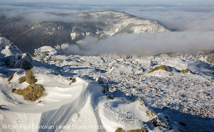 Appalachian Trail - Cannon Mountain from Little Haystack Mountain in the White Mountains of New Hampshire USA during the winter months.