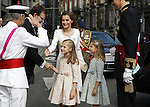 Coronation ceremony in Madrid. King Felipe VI of Spain and Queen Letizia of Spain at Congreso de los Diputados with their children Princess Leonor and enfant Sofía, and greet the President of Spain Mariano Rajoy. Madrid,June 19 ,2014. (ALTERPHOTOS/EFE/Pool)