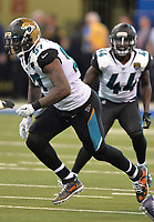 Jacksonville Jaguars defensive tackle Malik Jackson (97) against the Indianapolis Colts in a NFL game Sunday, October 22, 2017 in Indianapolis, IN.  (Rick Wilson/Jacksonville Jaguars)