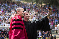 John O'Neill takes a quick selfie with President Jonathan Veitch. Occidental College's Commencement at the Remsen Bird Hillside Theater, Sunday, May 18, 2014.<br />