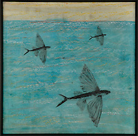 Flying Fish encaustic painting/photography by Jeff League.