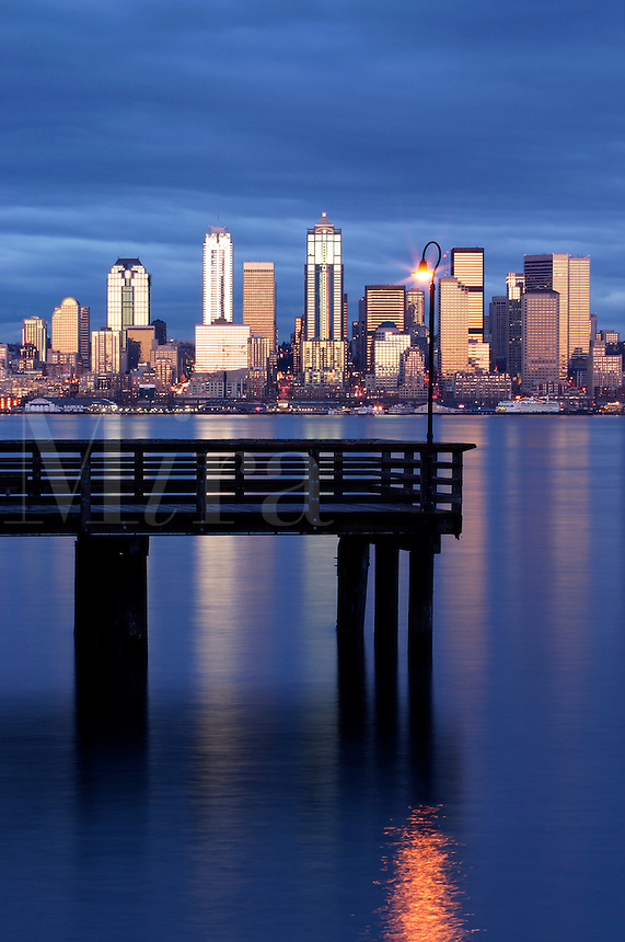 Seattle skyline and pier in Elliot Bay viewed from West Seattle, Seattle, Washington, US