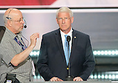 United States Senator Roger Wicker (Republican of Mississippi), right, participates in a rehearsal prior to the 2016 Republican National Convention in Cleveland, Ohio on Sunday, July 17, 2016.  Standing behind them and pointing is US .<br /> Credit: Ron Sachs / CNP<br /> (RESTRICTION: NO New York or New Jersey Newspapers or newspapers within a 75 mile radius of New York City)