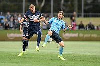 17th November 2019; Jubilee Oval, Sydney, New South Wales, Australia; A League Football, Sydney Football Club versus Melbourne Victory; Ola Toivonen of Melbourne Victory and Luke Brattan of Sydney compete for the ball