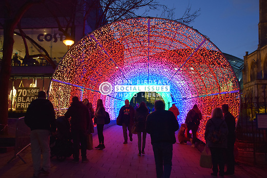 Tunnel of Light, christmas lights on Hayhill, Norwich UK November 2019