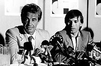 May 6, 1985 File Photo -  News conference for the movie HOLD UP ( a French-Quebec co production shot in Montreal) with actorean-Paul Belmondo and Alexandre Arcady, filmaker