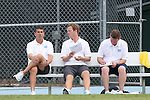 15 August 2014: UNC head coach Carlos Somoano (left) with assistant coaches Grant Porter and Jason O'Keefe. The University of North Carolina Tar Heels hosted the Gardner-Webb University Bulldogs at Fetzer Field in Chapel Hill, NC in a 2014 NCAA Division I Men's Soccer preseason match. North Carolina won the exhibition 7-0.